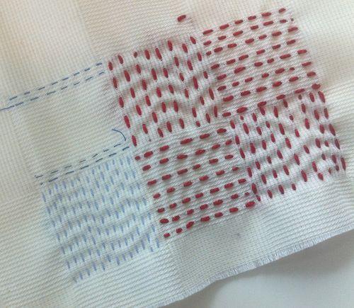 Red grid stitching